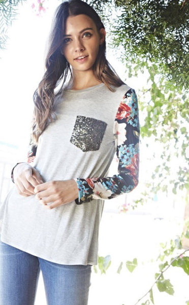 Rayon/Spandex Floral Print Contrast Solid Top