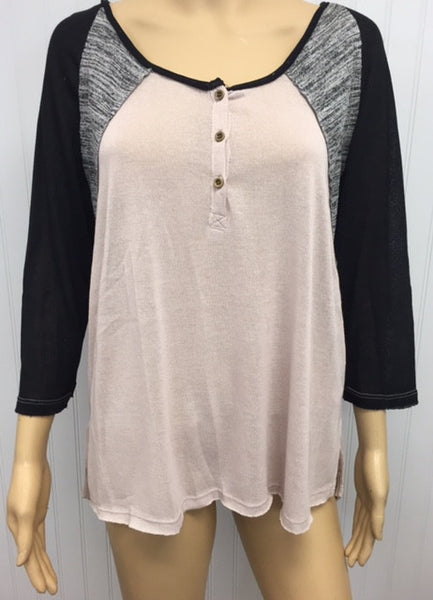Plus Size Button Up Heather Knit Crochet Back Top