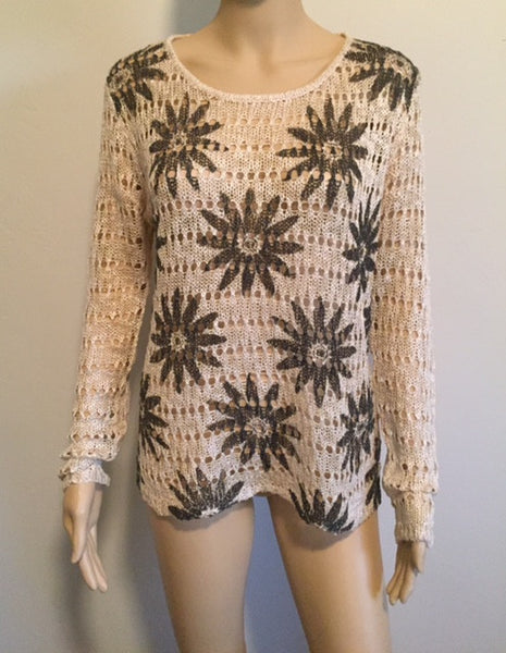Long Sleeve Crochet Top w/Black Flowers