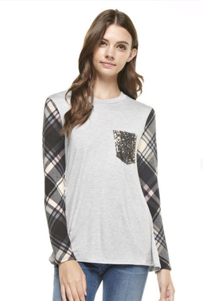 Plaid Print Long Sleeves Top with Sequins Front Pocket