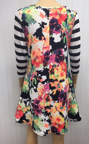 Floral Print Dress with Stripe Sleeve