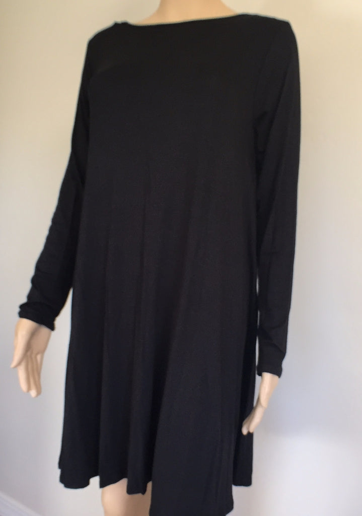 Black Solid Knit Long Sleeve Dress