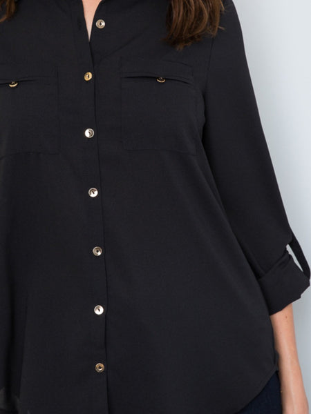 Two Pocket Black Button Up Blouse