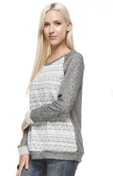 French Terry Gray Long Sleeve Lightweight Sweatshirt with Lace Front