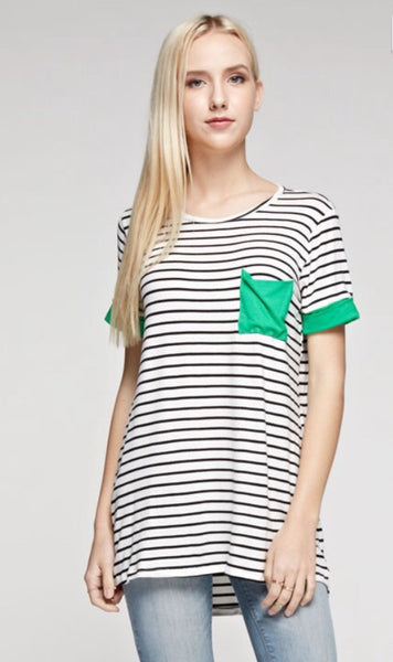 Stripe Print Short Sleeve Top