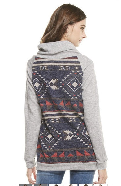 Tribal Print Contrast Solid Knit Cowl Neck Top  with Adjustable Drawstring and Front Pocket