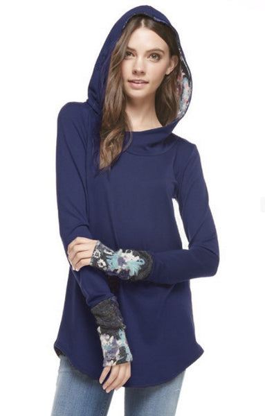 French Terry Solid Hood Top with Floral Knit Cuffs