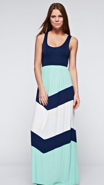 Color Block Maxi Tank Dress