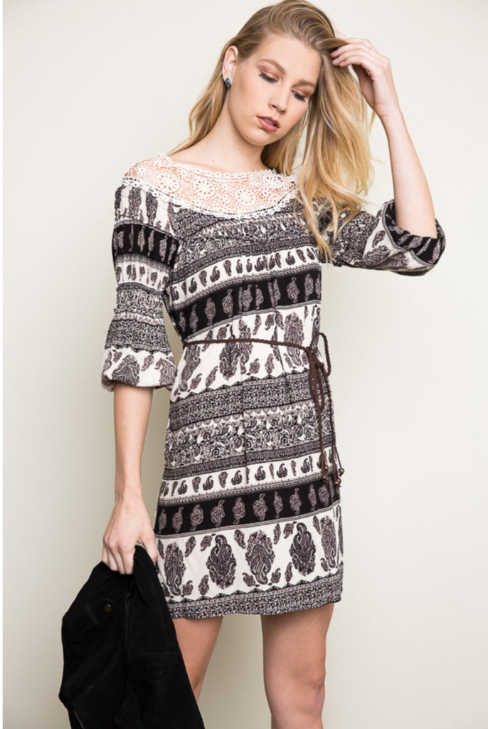 Paisley Dress With Belt