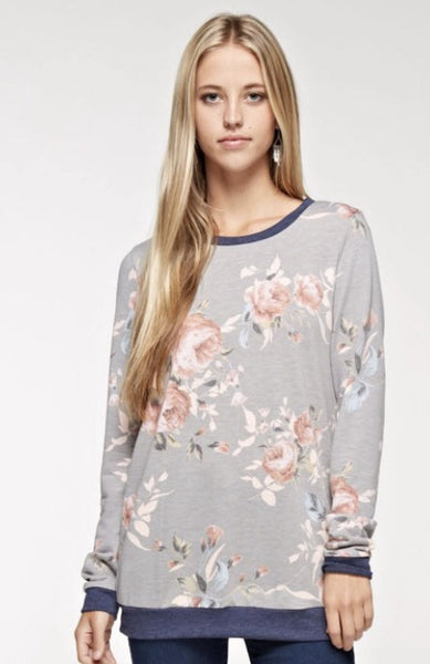 French Terry Floral Print Lightweight Sweatshirt