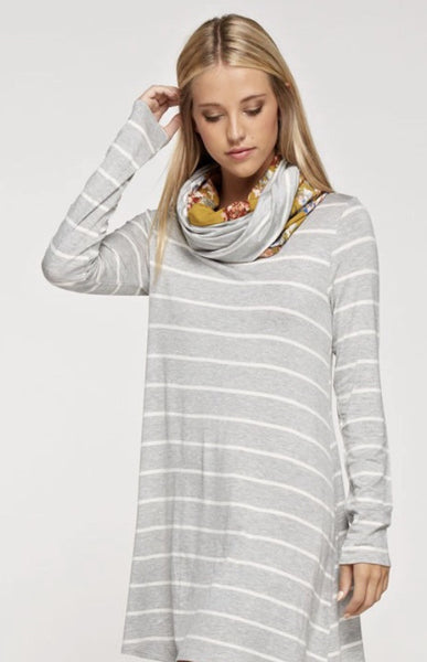 Long Sleeve Heather Gray and White Stripe Dress with Infinity Scarf
