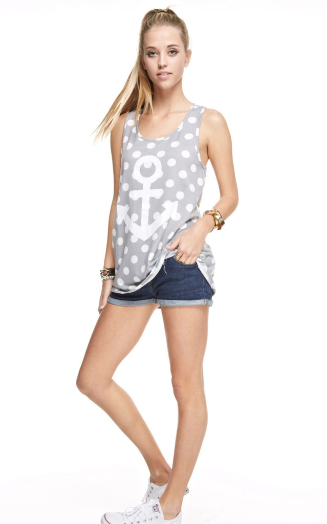 Grey Polka Dot Anchor Tank