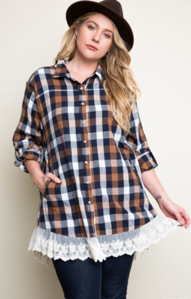 Plaid Lace Button Up Dress