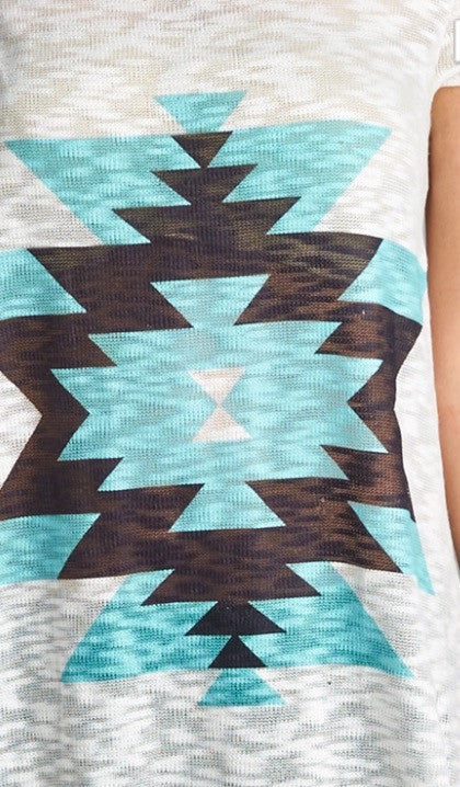 Short Sleeve Aztec Print Sublimation Tunic in Mint or Coral