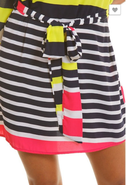 Multi Color Stripe Belted Dress