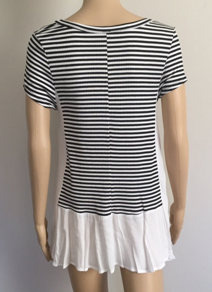 Short Sleeve Stripe Blocked Top
