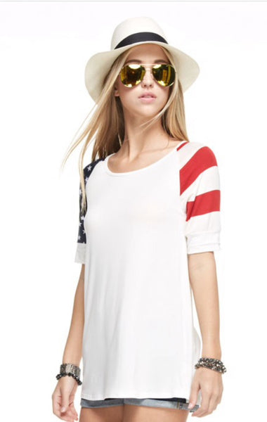 Patriotic American Flag Sleeve Top