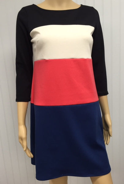 Colorblock 3/4 Sleeve Zip Up Dress