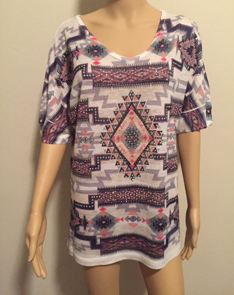 Aztec Print Short Sleeve Top with Stone Detail