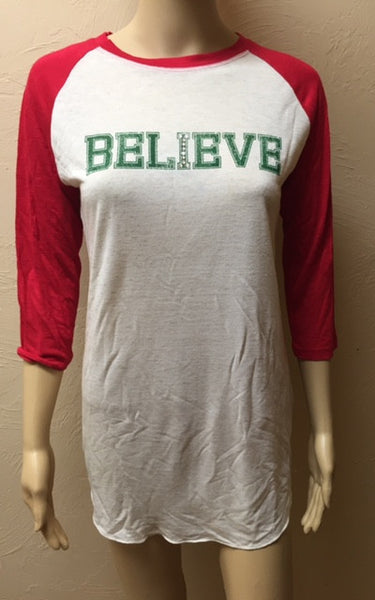 3/4 Red Sleeve Believe Top