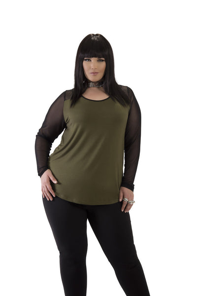 Army Green and Black Long Sleeve Top