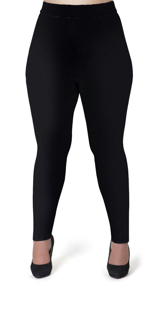 Plus Size Solid Black Leggings
