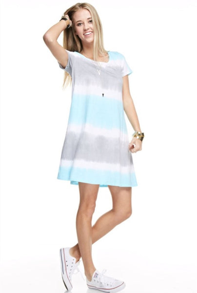 Hand Made Tie Dyed Short Sleeve A-Line Dress