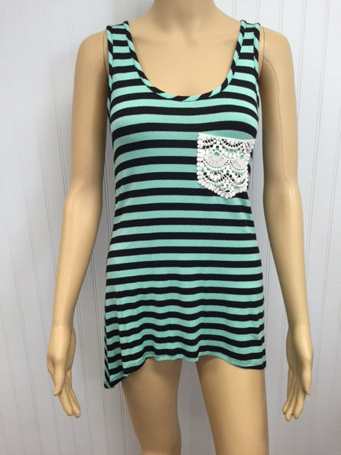 Tank Top in Mint/Black Stripes with Crochet Pocket