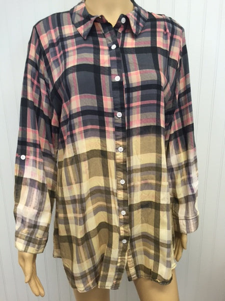 Woodstock Pink Plaid Button Up Top