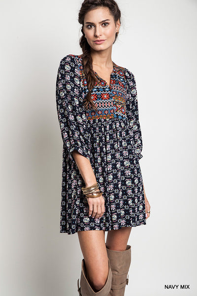 Printed Baby Doll Tunic Dress