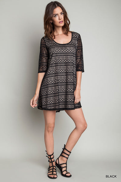 A-Line Black Lace Dress