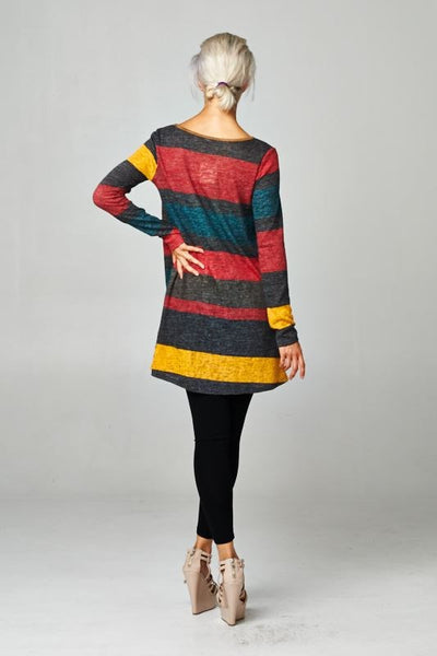 Long Sleeve Striped Tunic with Pocket