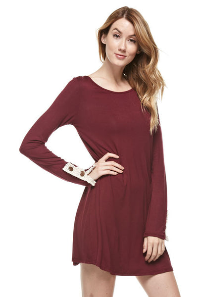 Burgundy Lace Button Back Dress
