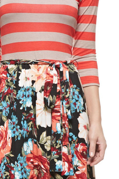 Coral/Mocha Stripe Top with Floral Bottom Maxi