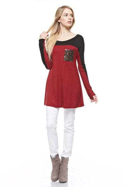 Black And Burgundy Long Sleeve Tunic