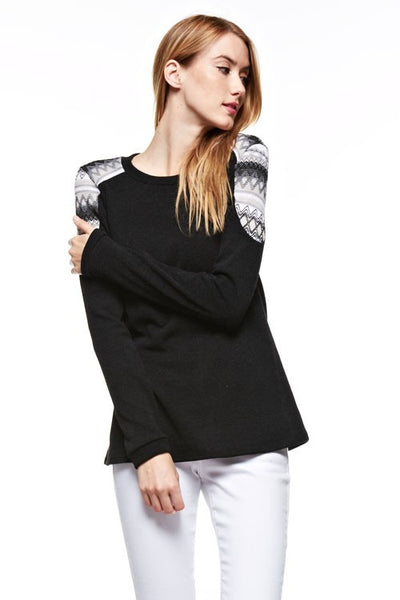 Sweater Top with Embroidered Applique