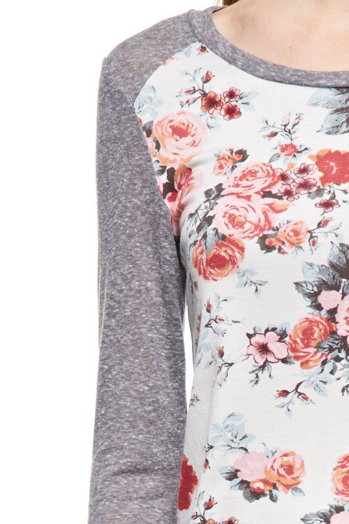 Floral Print Raglan with Grey Sleeves