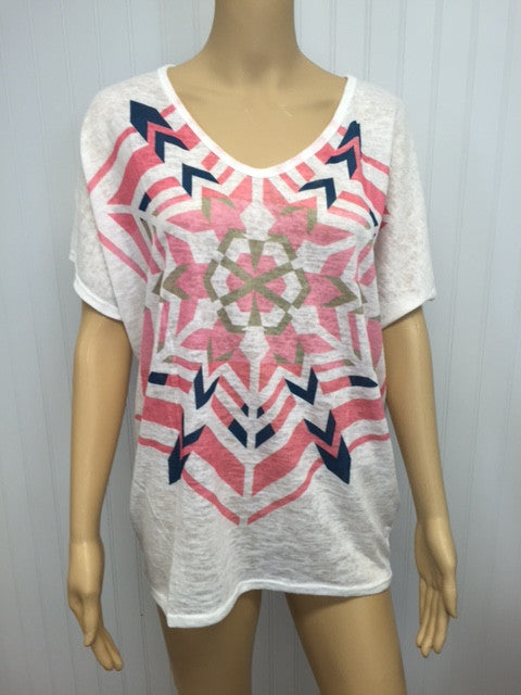 V-Neck Geometric Print Short Sleeve Top