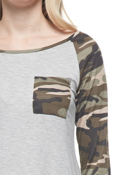 Long Sleeve Heather Grey Camo Top