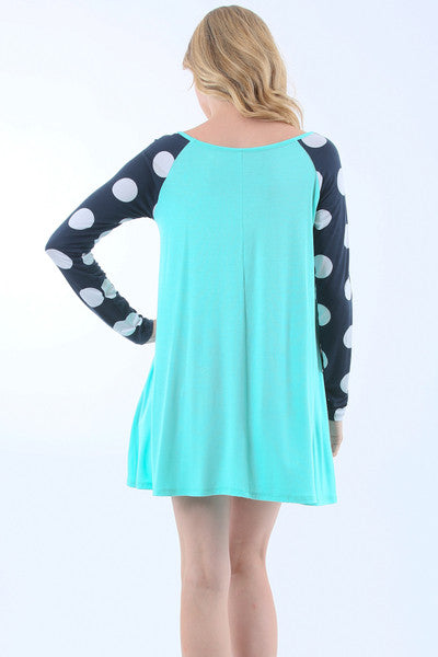 Color Block Raglan Polka Dot Fashion Top