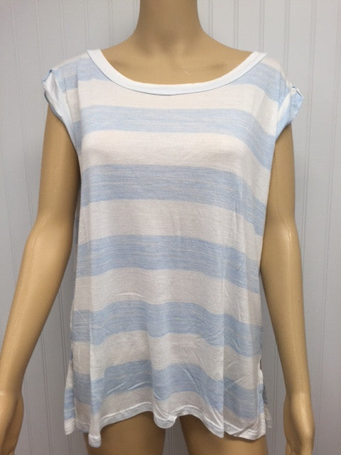 Baby Blue and White Stripe Short Sleeve Tee