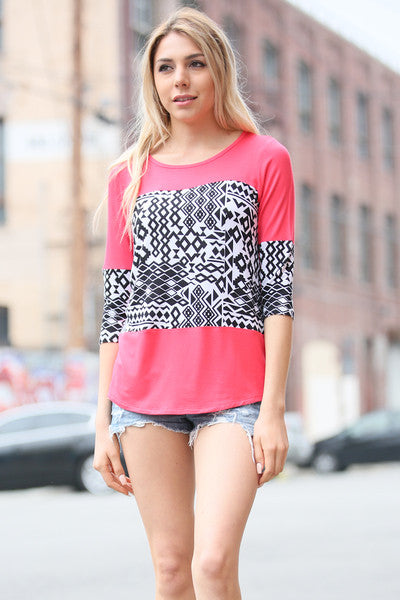 Print Patch on Solid Knit Top