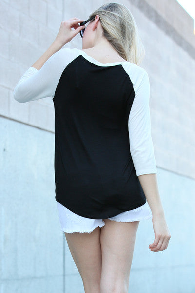 Solid Knit Sleeve Contrast Casual Elephant Top