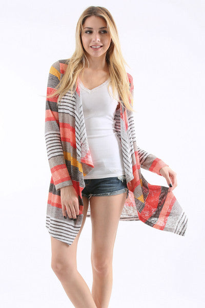 Long Sleeve Color Block Fashion Cardigan