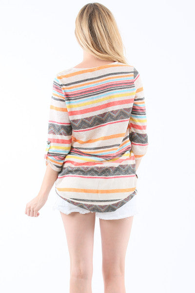 Stripe Button Ruched Sleeve Casual Top