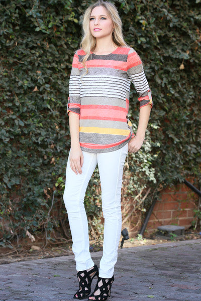 Multi Color Stripe Ruched Sleeve Casual Top