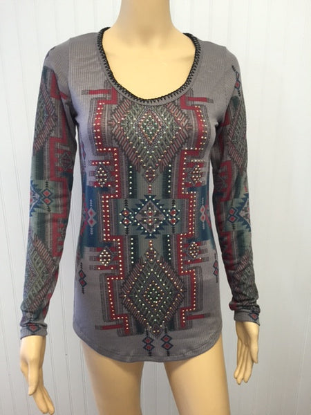 Grey Ribbed Knit Aztec Design Top