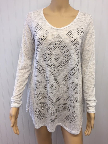 Long Sleeve Heather White Studded Top
