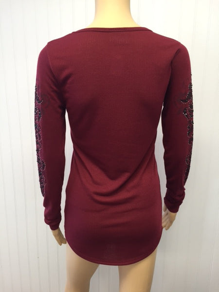 Long Sleeve Burgundy with Black Gems Ribbed Top