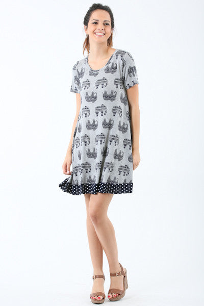 Short Sleeve with Polka Dot Border Elephant Dress